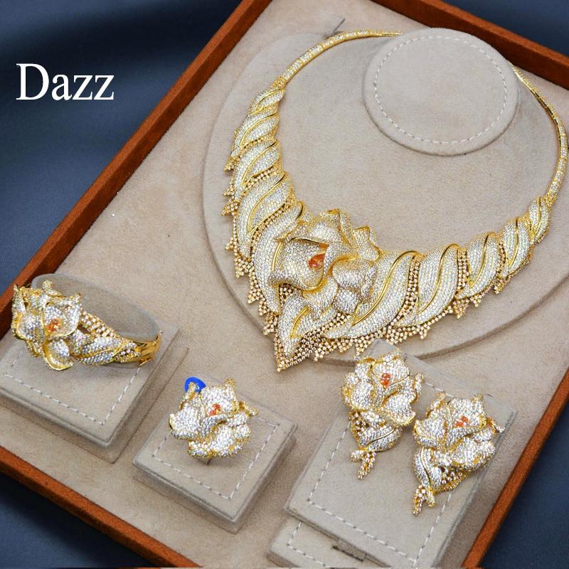 Dazz Luxury Big Flowers Nigeria Wedding Jewelry Set Bride Women s Zircon Necklace Large Dubai Ring