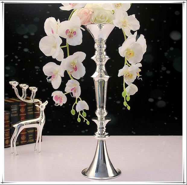 H52cm Vases Silver Tabletop Floor Vase Metal Decorative Flower Vase