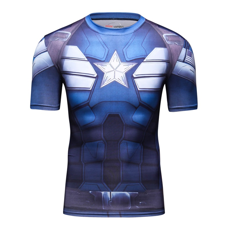 2018 Captain America Cosplay 3D Printed Men's T-shirt Short-Sleeved MAA Fighting Costume Fitness Exercise Men T shirts Fun Sport