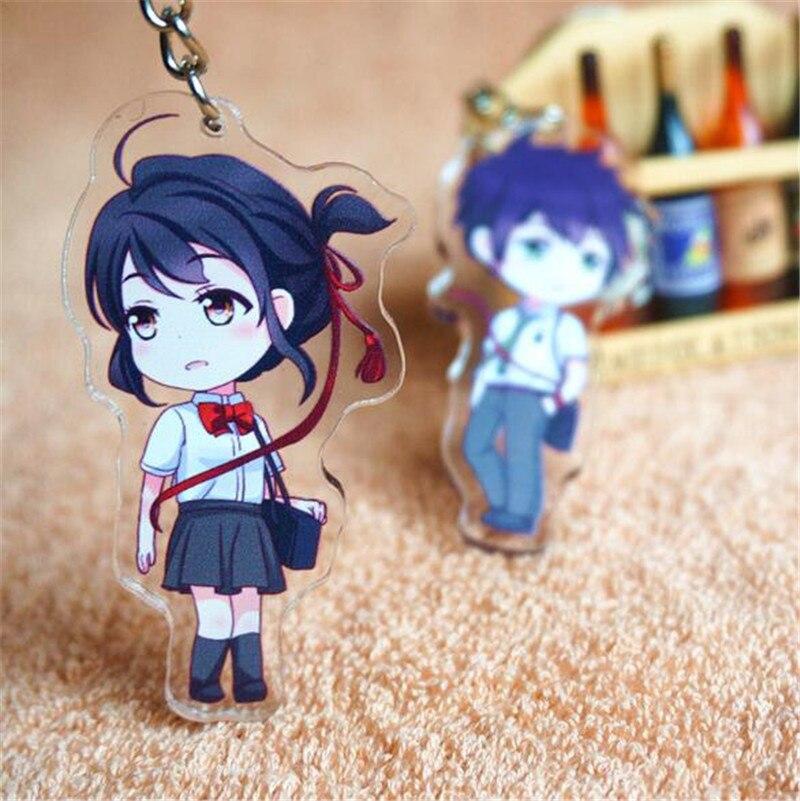 New Anime Cartoon Kimi no Na wa Your Name Miyamizu Mitsuha Acrylic Keychain Keyring Cosplay Keychain Pendant Christmas Gift