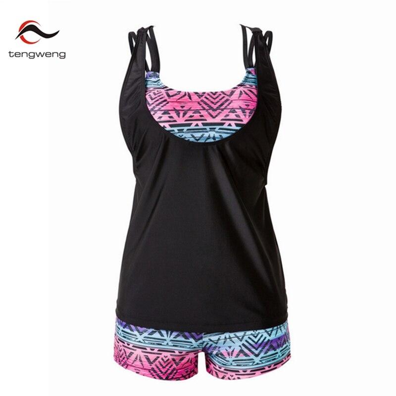 New 2017 Vintage Tankini Swimsuit Women Plus Size 3 Piece Swimwear Sport Vest Print BathingSuit Shorts Push Up Bikini Female 3XL