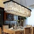Z Современная прямоугольная прозрачная K9 Хрустальная E14 Подвесная лампа Черная потолочная лампа ресторанные светодиодные светильники бар ...