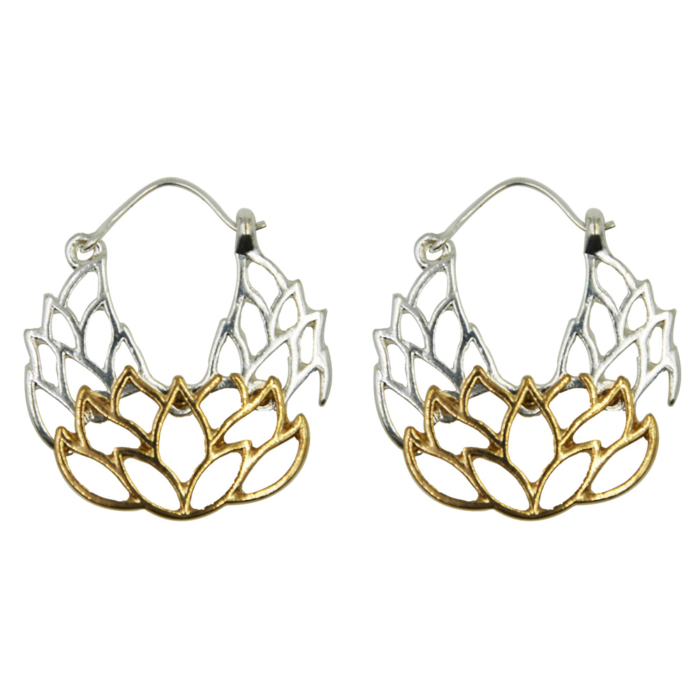 Silver gold indian tribal lotus flower drop dangle earrings silver gold indian tribal lotus flower drop dangle earrings wholesale jewelry jewellery gift for women girls in drop earrings from jewelry accessories on izmirmasajfo Images