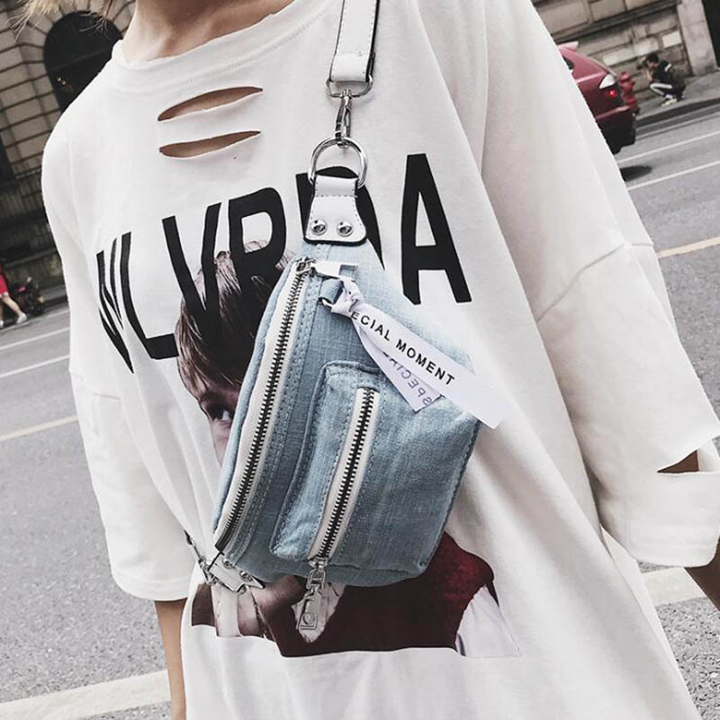 Fashion Women Denim Waist Pack Cool Chest Bag Larger Capacity Casual Funny Packs New Female Bolsa Sac
