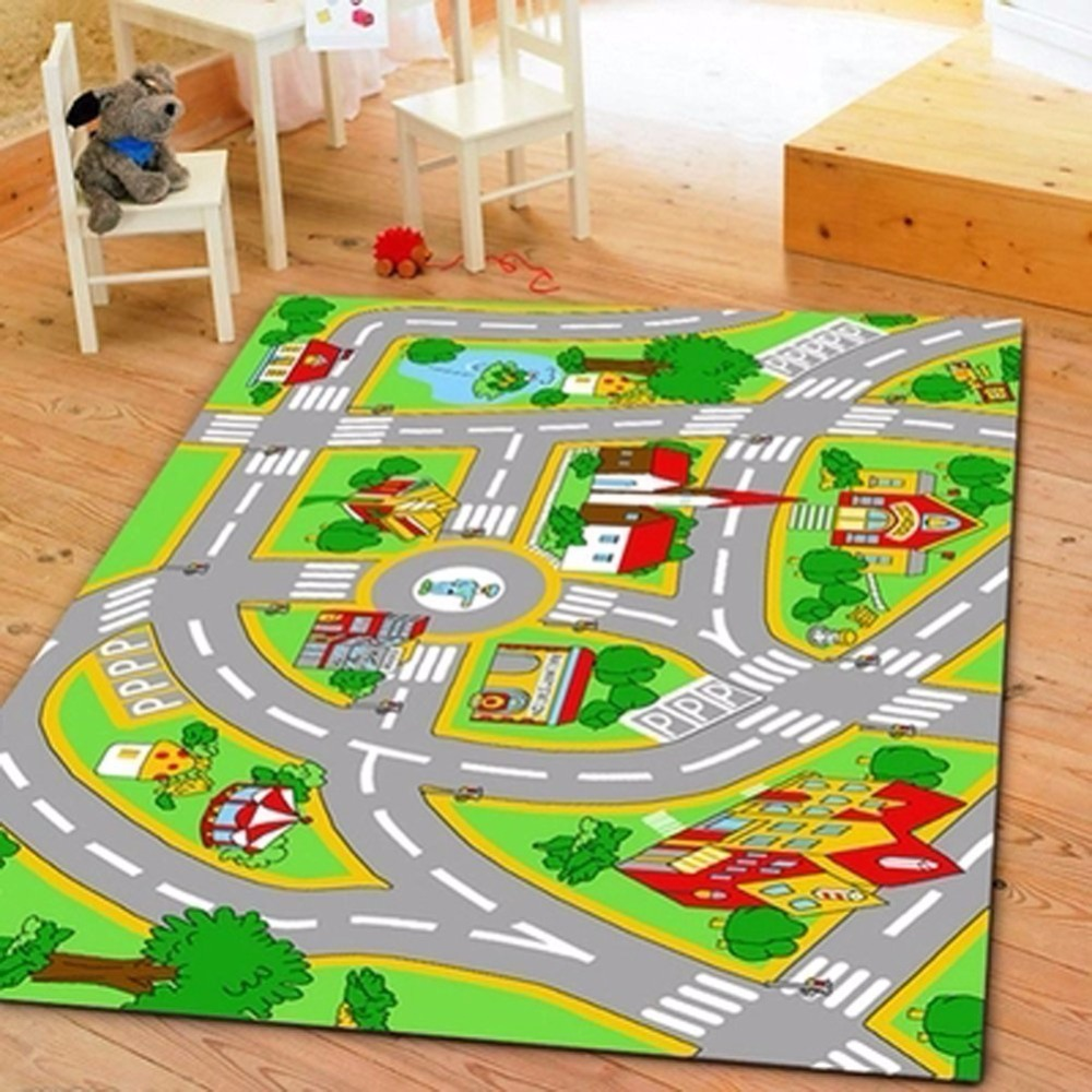 Huahoo kids 39 rug with roads kids rug play mat city street - Tappeto pista ikea ...