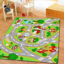 Kids' Rug With Roads Kids Rug Play Mat City Street Map Children Learning Carpet Play Carpet Kids Rugs Playroom