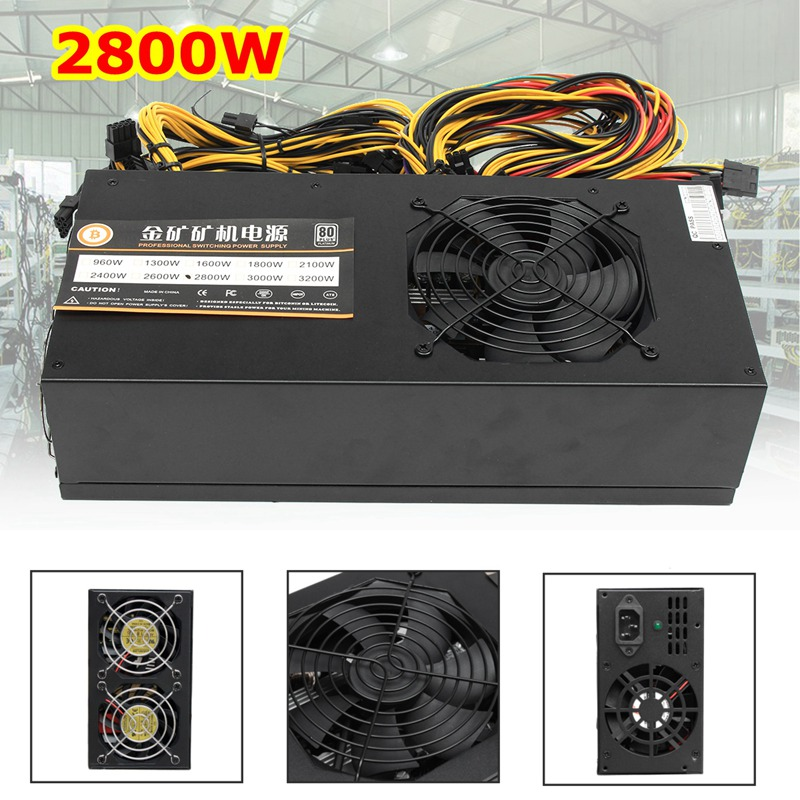 купить 2800W Mining Power Supply 8GPU 24Pin For Eth Rig Ethereum Bitcoin Miner 90+ Gold High Quality Computer power Supply For BTC недорого