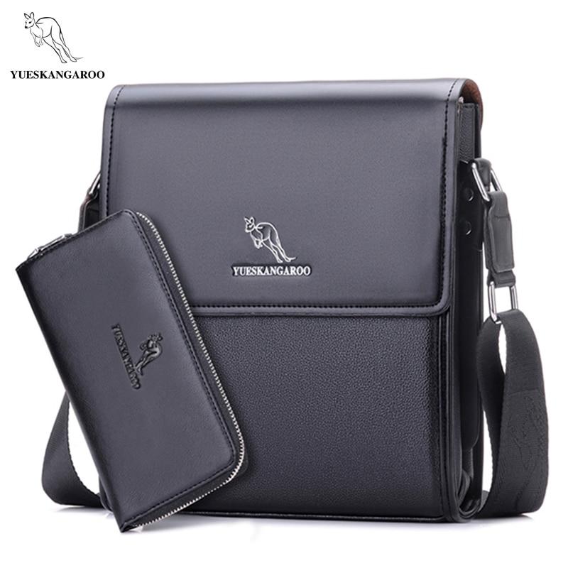 YUES KANGAROO men messenger bag men leather bag designer famous brand shoulder bag business briefcase crossbody
