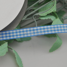 Upick 3/8″ 10mm Blue One Roll Tartan Plaid Ribbon Bows Appliques Sewing Crafts 50Y
