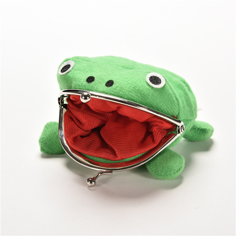 Frog Model Pocket Money Bag Flannel Wallet Women Coin Purse Dacron Change Bag Hasp Purse Anime Cartoon Wallet Coin Purse cartoon japan anime one piece luffy wallet with money coin pocket zipper leather pu purse