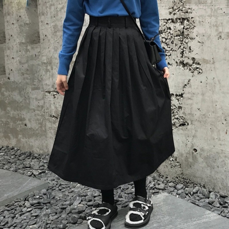 LANMREM Spring Autumn 2019 Women Zipper High Waist Solid Color Pleated A line Skirt Female Fashion