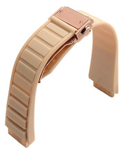 26mm x 19mm Watch lug Rose Gold Deployment Clasp Beige Soft Diving Silicone Rubber Watch BANDs