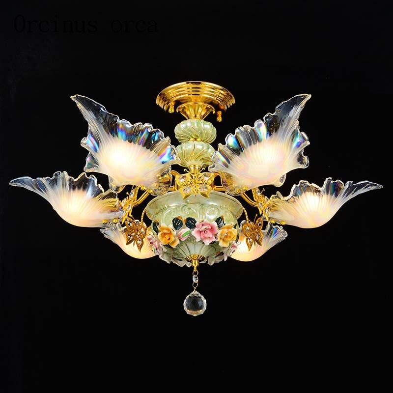 Европейский стиль керамические кристалл потолочный светильник творческая гостиная столовая спальня Французский Сад теплый и романтическ