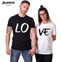 BLWHSA amantes pareja verano divertida pareja mujeres camisetas corazón amor impresión Cool hombres manga corta pareja novio ropa