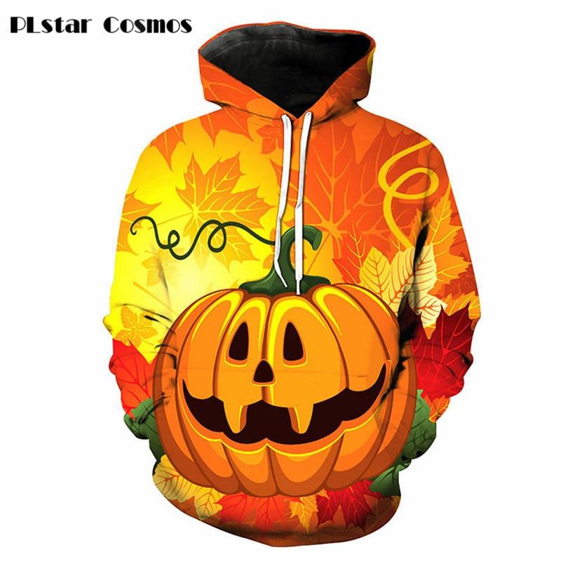 PLstar Cosmos Halloween style Women/Men 3d Hoodies Harajuku Male Sweatshirt Hooded Print funny Pumpkin Lanter Brand Pullovers