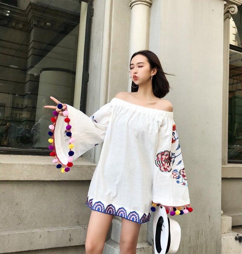 e8817a78d4 Limiguyue borla preto branco vestido bordado mexicano femme vestidos ...