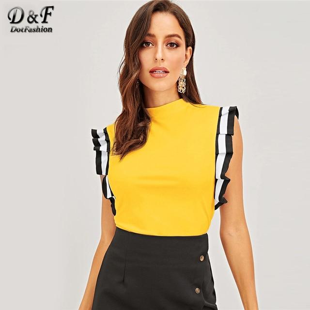 Dotfashion Gelb Mock Neck Striped Plissee Rüschen Armloch Top Frauen Kleidung 2019 Elegante Sommer Koreanische T-Shirt Slim Fit T