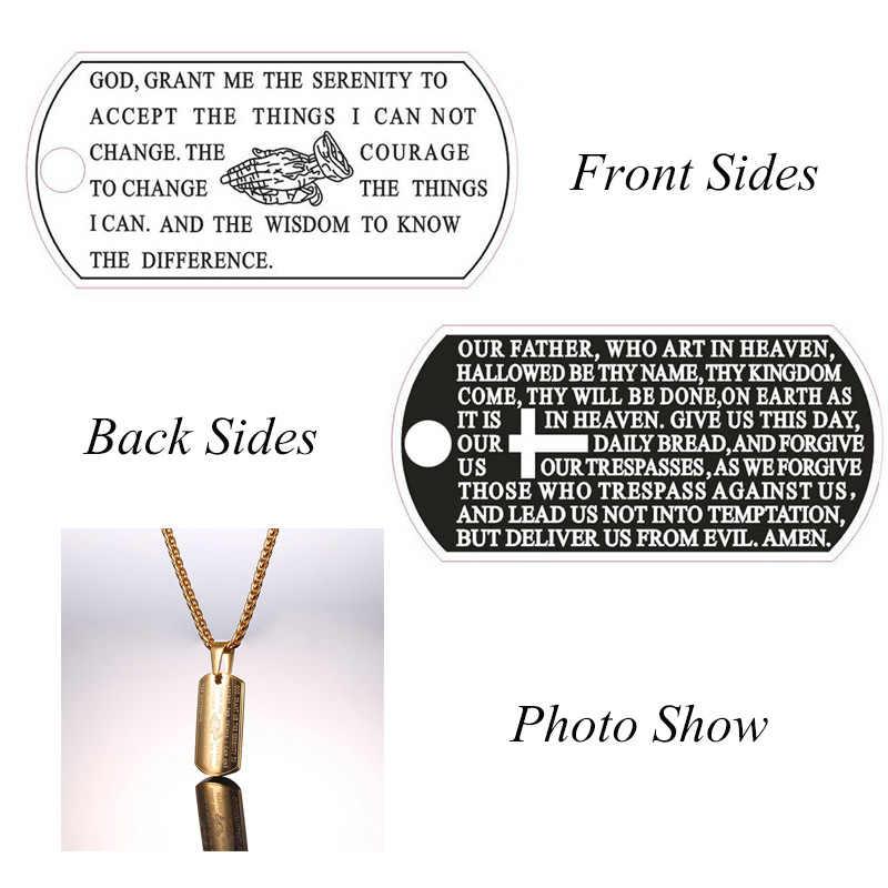 Collare werset biblijny naszyjniki mężczyzna Bar czarny/złoty kolor modlitwa ręce biżuteria 316L ze stali nierdzewnej modląc się wisiorki mężczyźni P062