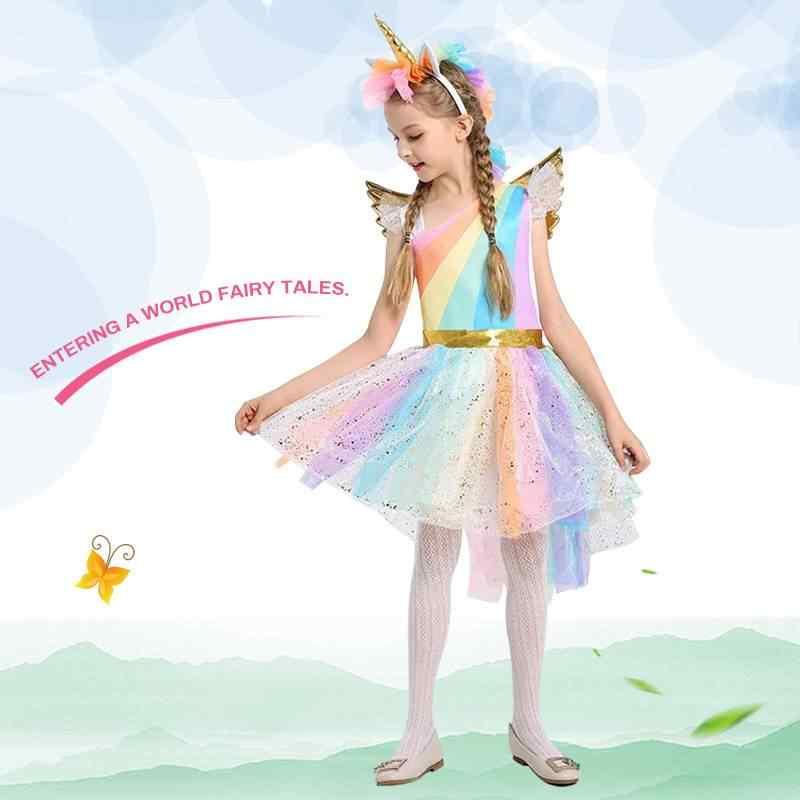 f959e0e005d0 ... Kids Girl Fancy Rainbow Sequined Tutu Wedding Party Dress With Unicorn  Horn/Hair Hoop Wings ...