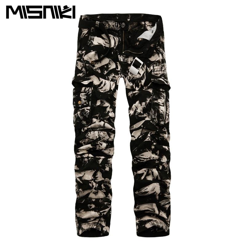 MISNIKI 2017 Spring New Cotton Cargo Pants Men Multi-pocket Casual Slim Camouflage Trousers Men(Asian Size 29-40)