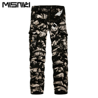 2017 Spring New Cotton Cargo Pants Men Multi Pocket Casual Slim Camouflage Trousers Men Asian Size