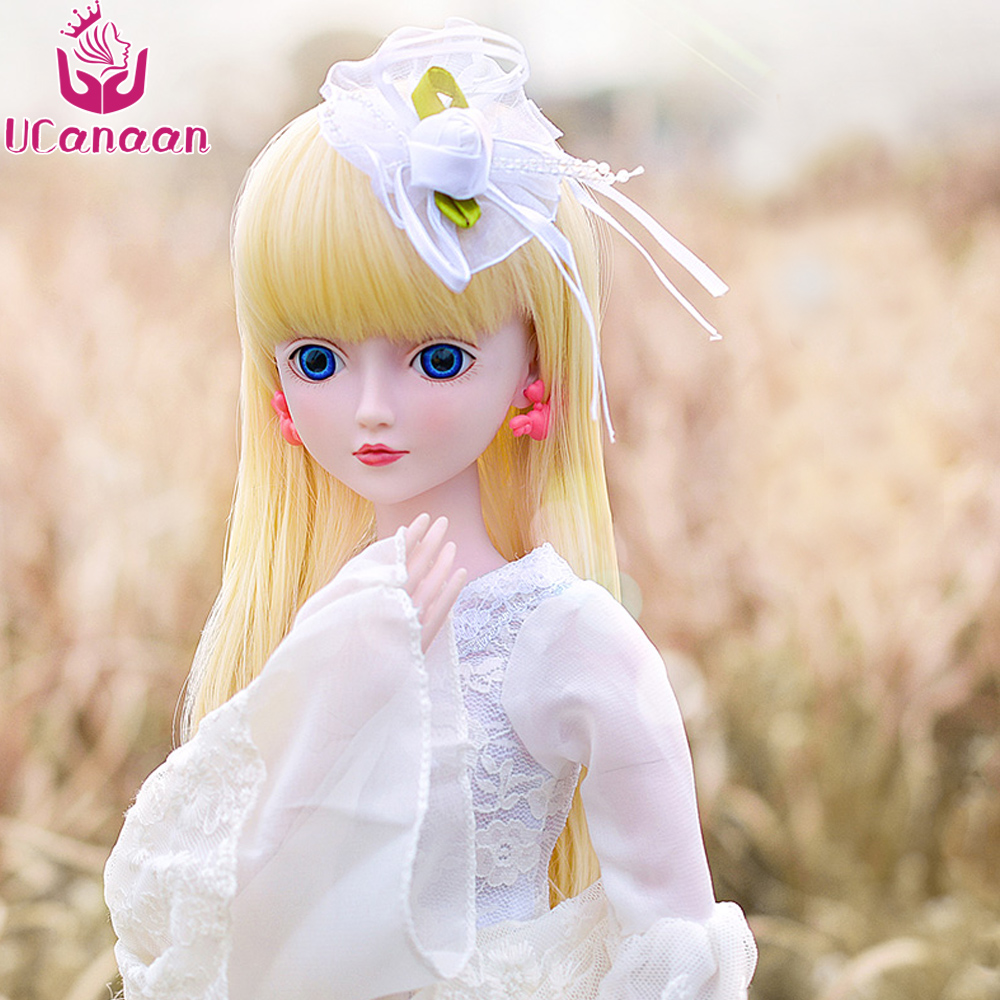 Ucanaan 1/3 Large BJD/SD Doll Body 19 Joints Rotated Toys Model Reborn Girls Free Make Up Snow Princess For Christmas Gift uncle 1 3 1 4 1 6 doll accessories for bjd sd bjd eyelashes for doll 1 pair tx 03