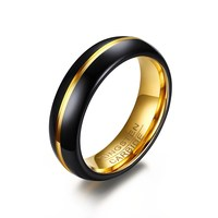 6mm Two Tone Black Gold Color Domed Groove Anniversary Rings in Tungsten Carbide Free Custom Engraving