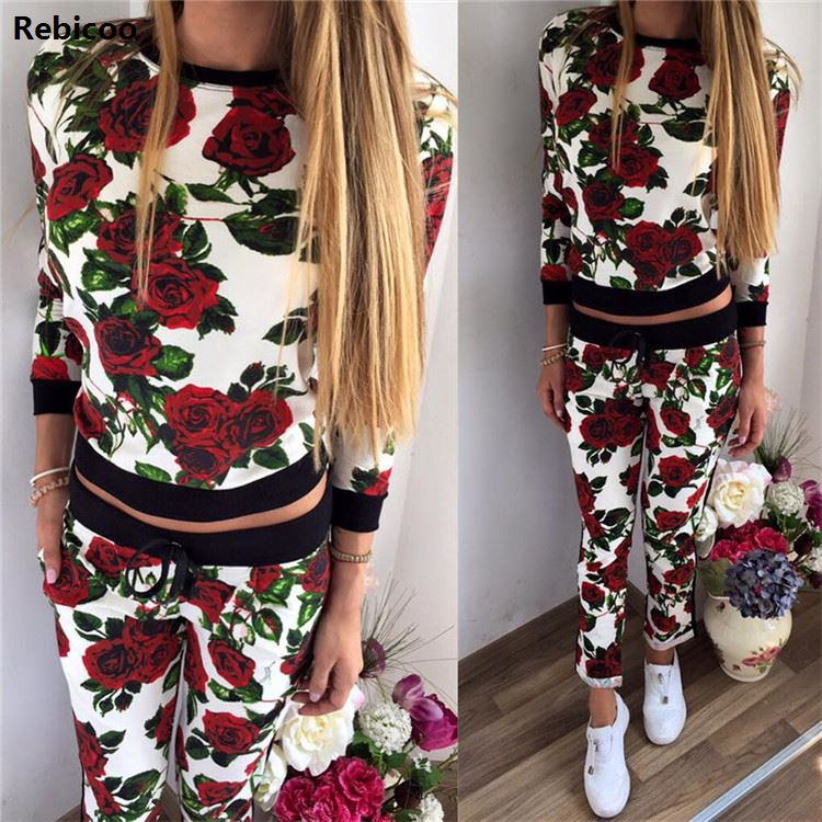 Autumn 2 Piece Set Women Pants And Tops  Casual Long Sleeve Sets Floral Tracksuit Fashion Sweat Suits Women Outfit
