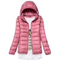 Hooded 90 White Duck Down Jacket Ultra Light Slim Down Coat Spring Autumn Women Plus Size