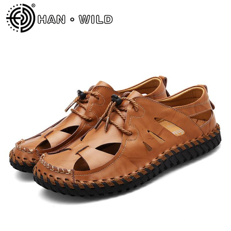 Quality Sandals Men Comfort Genuine Leather Men Sandals Classic Summer Sandals Male Non-slip Outdoor Shoes Beach Sandals