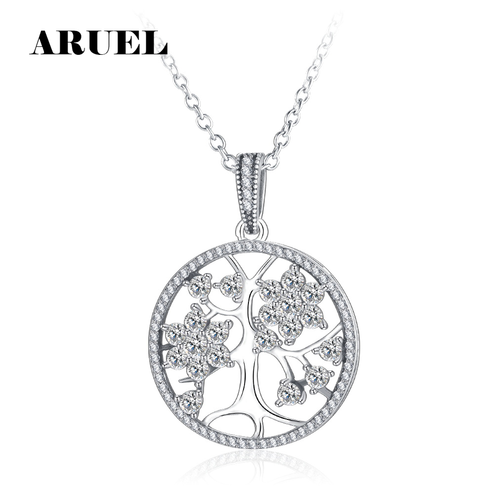 ARUEL Silver Brand Clear Shape CZ lover gift Tree of Life Round Pendant Necklaces for Wo ...