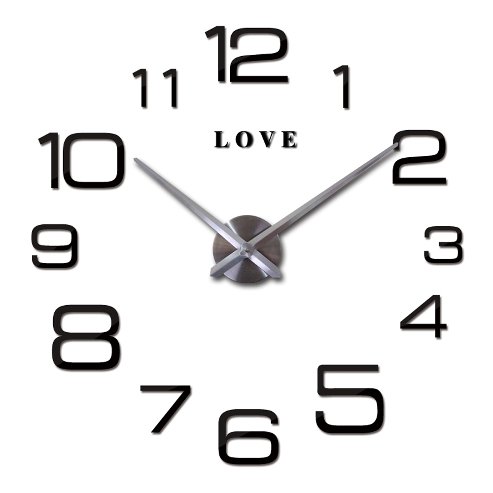 Love Letters Arabic Digital 3D Quartz Wall Clock Quartz Metal Mechanism Clock Large Modern DIY 2016 Clock