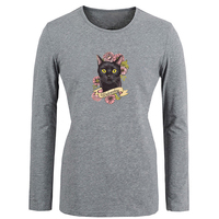 Retro Vintage Black Cat wednesday pink flower Tshirt For Women girls long sleeves Tee Tops Creative Printed Tee Cosplay costume