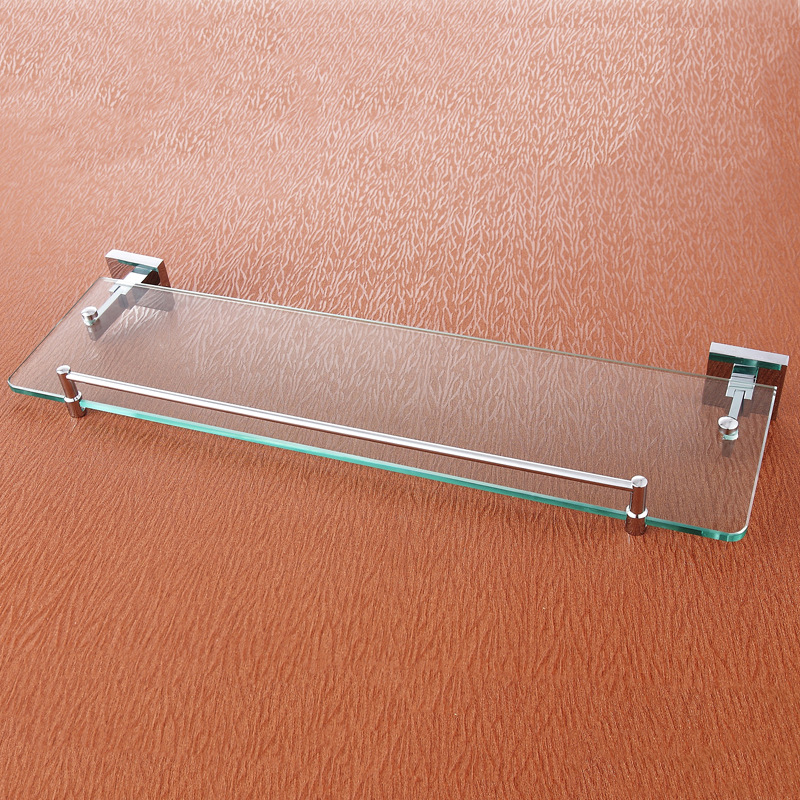 Glass Shelf Wall Mounted Chrome Single Tier Glass Bathroom Shelves with 304 Stainless Steel and Copper Shower Shampoo Holder black bathroom shelves stainless steel 2 tier square shelf shower caddy storage shampoo basket kitchen corner shampoo holder