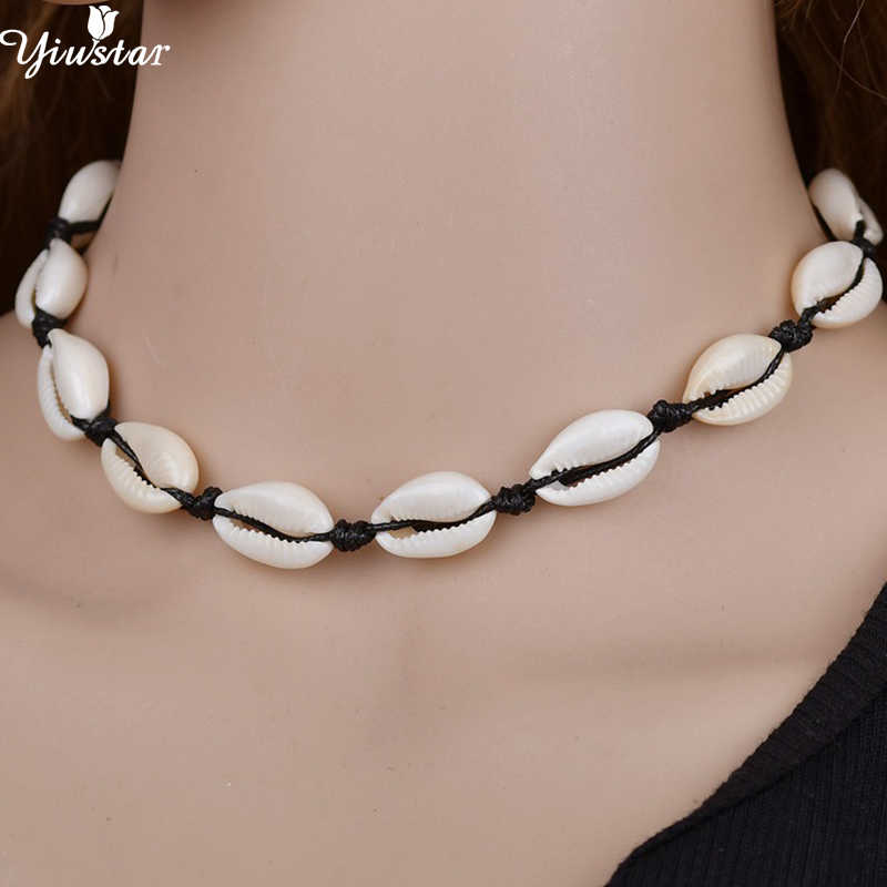 Yiustar Boho Black Rope Chain Seashell Necklace Woman Ocean Beach Sea Shells Choker Chain Necklace Natural Shell Girls Gifts