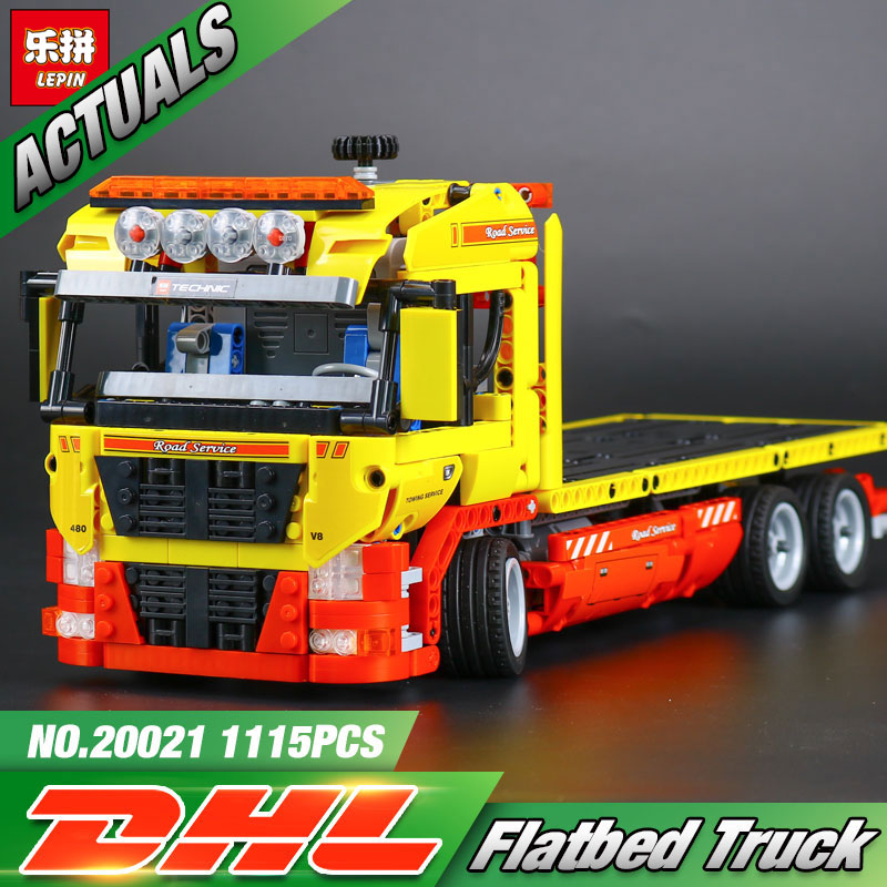 NEW LEPIN 20021 technic series 1143pcs Flatbed trailer Model Building blocks Bricks Compatible Toy Gift Educational Car 8109 lepin 20005 2793pcs technic series model building block bricks compatible with boys toy gift compatible legoed 42023