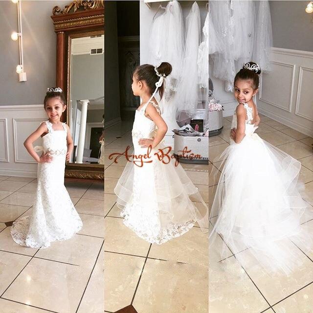 Blanc/ivoire dentelle sirène fleur fille robes pour mariage dentelle communion robes pour filles pageant robes enfants robes de soirée