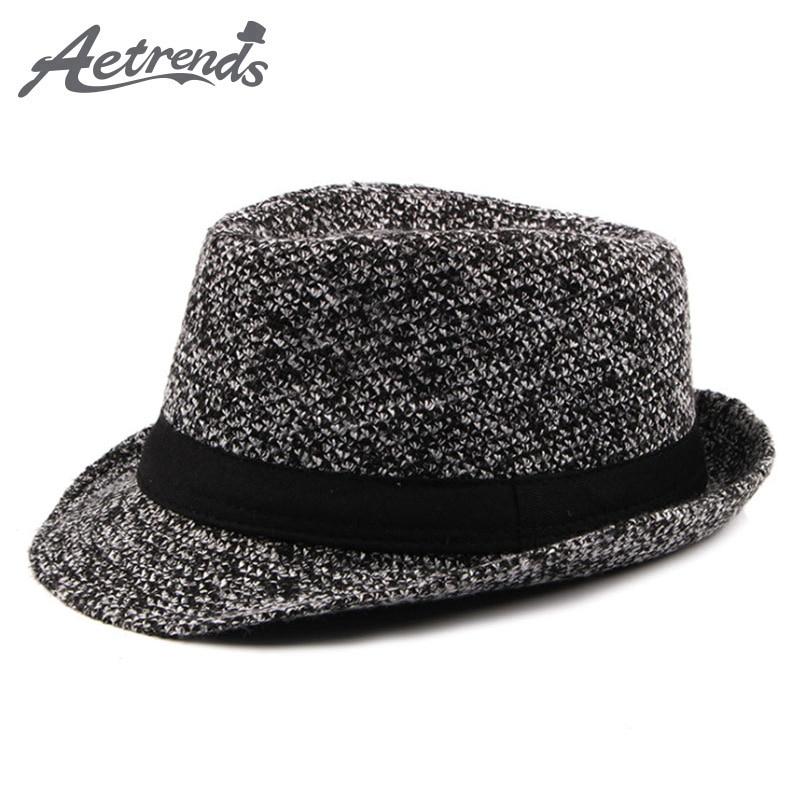 27e21e08fb3  AETRENDS  2017 New Autumn Winter Fedoras Men s Jazz Cap Vintage Derby Bowler  Hat Z