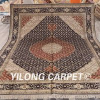 Yilong 9'x12' Antique handmade turkish rug large black and red persian silk carpet (LH434B9x12)