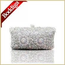 Luxus Handgemachte Frauen Abend-handtasche Kristall Blume Weiße Tageskupplung Dame Hochzeit Tasche Dhl-freies