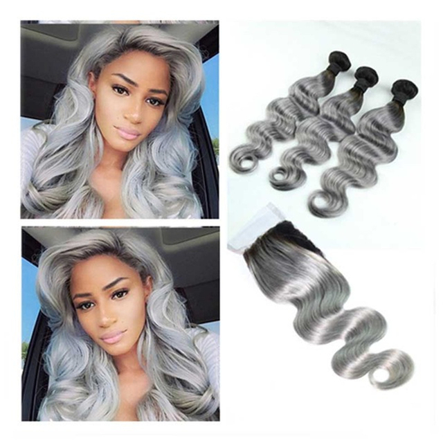 Full Shine Brazilian Real Human Hair 3 Bundles with Lace Closure Two Tone Color 1B Ombre Silver Body Wave Virgin Hair Weaving