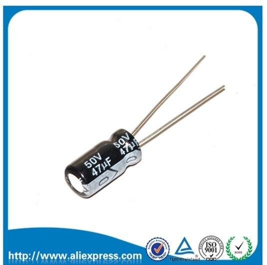 50 adet 50 V 47 UF 47 UF 50 V Alüminyum elektrolitik kondansatör Boyutu 6*12 MM 50 V/ 47 UF elektrolitik kondansatör