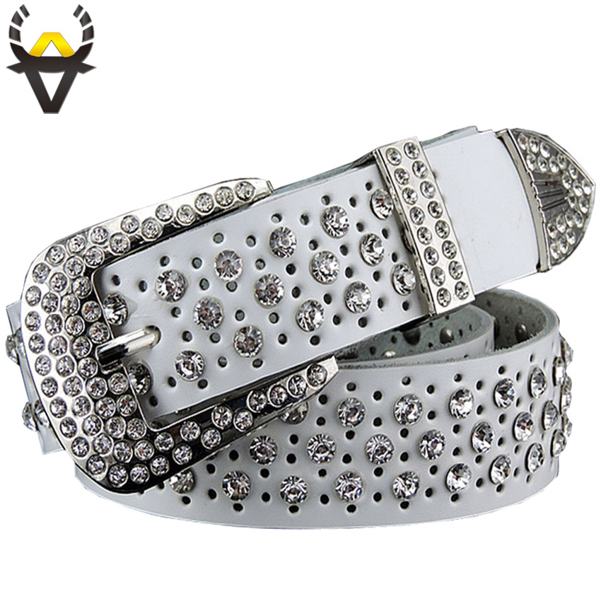 Fashion Rhinestone Genuine Leather Belts For Women Luxury Pin Buckle Belt Woman Quality Second Layer Cow Skin Strap Width 3.3 Cm