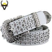 Luxury rhinestones women belt fashion high quality cowskin leather strap female 3.4CM width 115CM length ceinture femme PD-077
