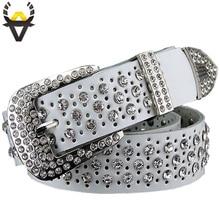 Fashion rhinestone genuine leather belts for women Luxury Pin buckle belt woman Quality second layer cow skin strap width 3.3 cm
