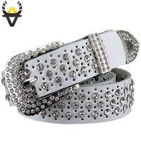 Luxury Rhinestones Women Belt Fashion High Quality Cowskin Leather Strap Female 3 4CM Width 115CM Length