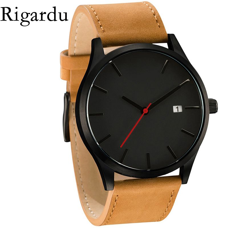 Fashion Men Wrist Watch Low-key Design Auto Date Leather Band Male Gift Business Men's Quartz Watch Relojes Hombre #25 костюм key fashion