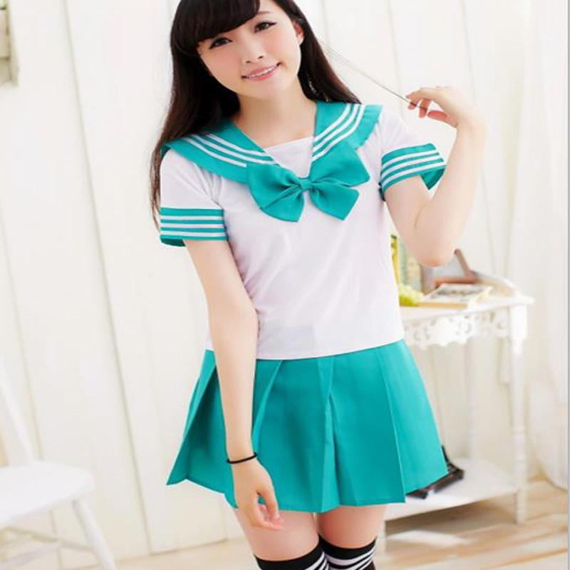 Summer Short Sleeve School Uniforms Sailor Tops+tie+skirt Navy Style Students Clothes For Girl Lala Cheerleader Costumes