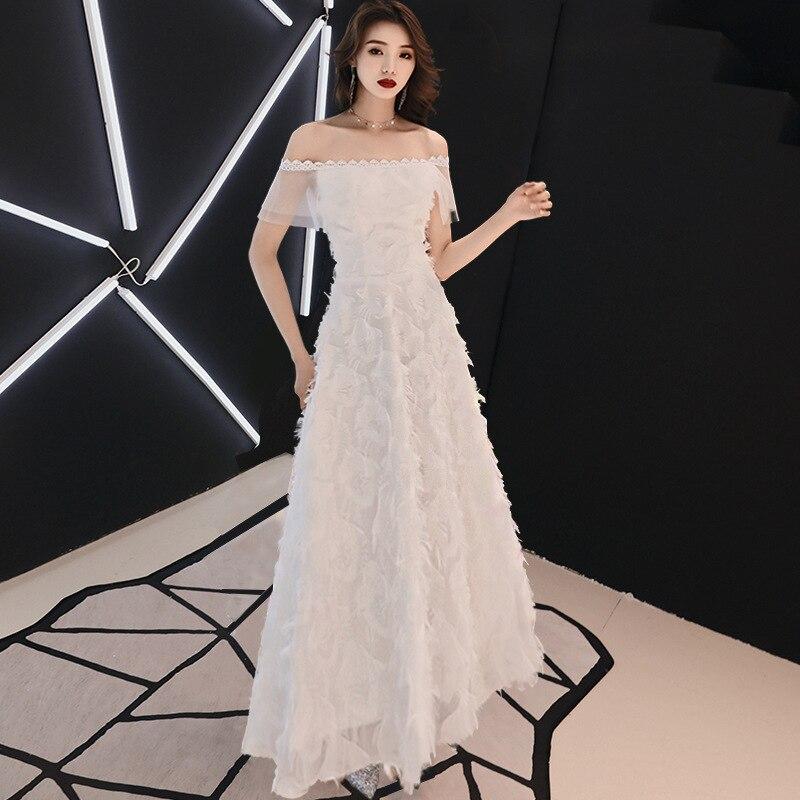 White Elegant A Line Long   Evening     Dress   2019 Off The Shoulder Formal Party   Dresses   Noble Banquet Prom Gowns Robe De Soiree
