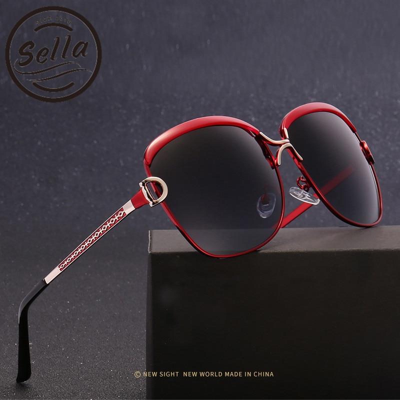 Sella Fashion Women Polarized Sunglasses Brand Designer Oversized Gradient Alloy Frame Sun Glasses HDSummer Ladies Eyewear